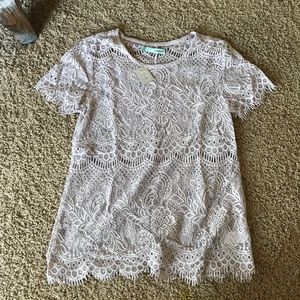 Dusty Lilac Lace Top NWT